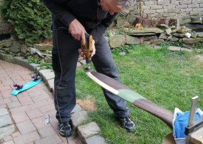 Final sanding of the brass sheathing