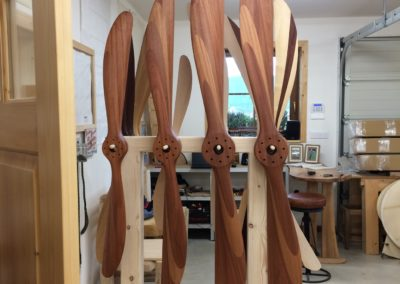 Mahogany Sopwith Camel propellers after first layer of teak oil (174, 200, 250 and 256 cm)
