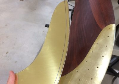 Shaping the brass sheet for Curtiss Jenny propeller