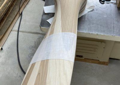 Linen fabric glued on a propeller blade