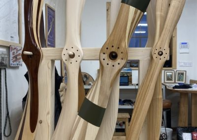 The fifference between natural sanded propeller blade and a blade treated with teak oil