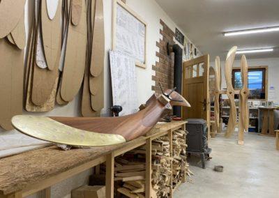 Curtiss Jenny 250cm, mahogany, teak oil, brass sheathing